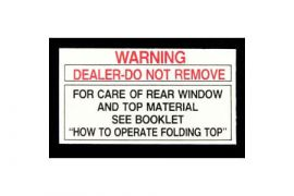 1956L-1975 Corvette Convertible Top Rear Window Tag