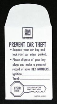 1967-1968 Corvette Key Envelope In Glove Box