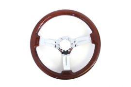 69-82 Mahogany Steering Wheel w/Chrome Spokes