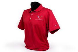 C7 Corvette Emblem Men's Nike Dri-Fit Polo in Red
