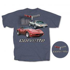 2 Vette Garage Heather Blue T-shirt