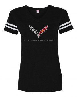 Ladies Vintage Black Striped C7 Corvette T-shirt