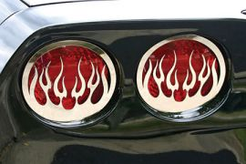 2005-2013 Corvette Flamed Stainless Tail Light Grill Set