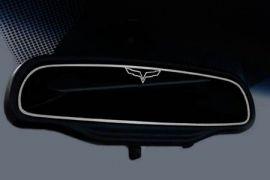 "2005-2013 Corvette Inside Mirror Stainless Trim w/""C6 Emblem"" (Auto Dim Mirror)"
