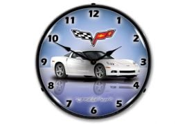 C6 Arctic White Corvette Lighted Clock