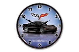C6 Black Corvette Lighted Clock