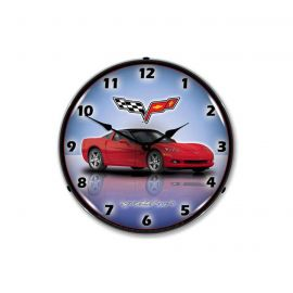 C6 Crystal Red Corvette Lighted Clock