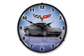 C6 Cyber Grey Corvette Lighted Clock