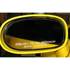 84-13 Objects In Mirror Are Losing Mirror Decal (4in Wide)