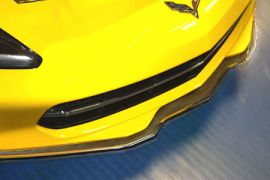 14-18 Stainless Front Lip Spoiler w/Real Carbon-Fiberglass Overlay