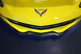 14-18 Stainless Front Lip Spoiler w/Carbon-Fiberglass Overlay & Stingray Script (Default)