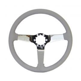 68-82 Chrome 3-Spoke Leather Steering Wheel