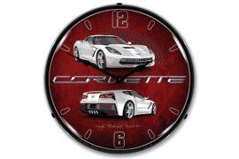 C7 Arctic White Corvette Lighted Wall Clock