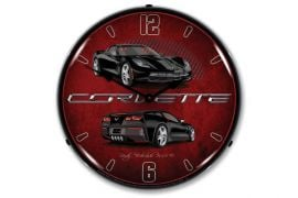 C7 Black Corvette Lighted Wall Clock