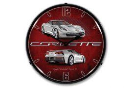 C7 Blade Silver Corvette Lighted Wall Clock