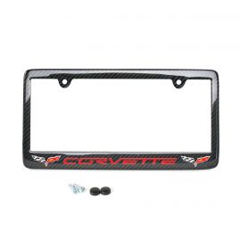 05-13 Carbon Fiber License Plate Frame w/Double C6 Emblem