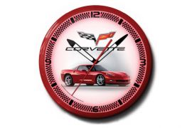 C6 Red Corvette 20in Neon Clock