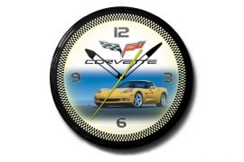 C6 Yellow Corvette 20in Neon Clock