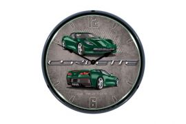 C7 Lime Rock Green Corvette Lighted Wall Clock