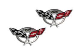 97-04 C5 Corvette 50th 1 3/4in Domed Cross Flag Emblems (2pc)