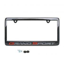 10-13 Carbon Fiber License Plate Frame w/Grand Sport Emblem