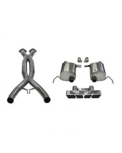 14-19 LT1 & 17-19 GS w/Auto CORSA Double Helixx X-Pipe & Xtreme Valve-Back Exhaust System w/Polished Polygon Tip
