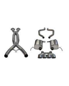 15-19 Z06, ZR1 & 17-19 GS w/Manual Corsa Double Helixx X-Pipe & Xtreme Axle Back Exhaust System w/Polished 4.5in Tips