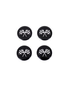73-82 Aluminum Wheel Spinner Emblems - Cross Flag Black