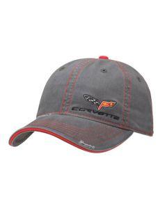 C6 Corvette Gray Wash Twill Cap