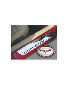 """2005-2013 Corvette Billet Sill Plates w/C6 Emblem & """"Corvette"""""""