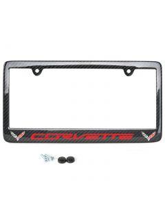 14-19 Carbon Fiber License Plate Frame w/C7 Double Emblem
