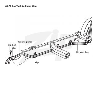 1975-1977 Corvette Gas Tank to Fuel Pump Frame Line
