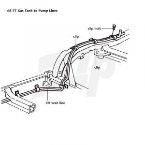 1970-1974 Corvette Gas Tank to Fuel Pump Frame Line