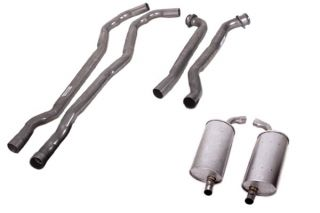 """73 454 Manual 2 1/2"""" Exhaust System w/Round Mufflers"""