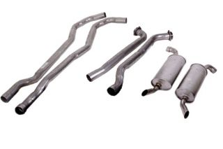 "74 350 L48 Manual 2"" Exhaust System w/Round Mufflers"