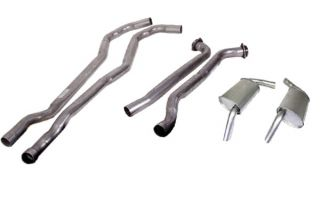 """74 350 L48 Auto 2"""" Exhaust System w/""""Tuck-Under"""" Oval Mufflers"""