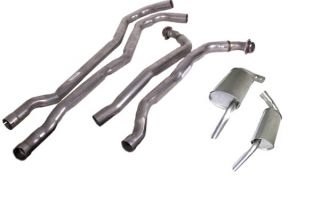 """74 350 L82 Auto 2-2 1/2"""" Exhaust System w/""""Tuck-Under"""" Oval Mufflers"""