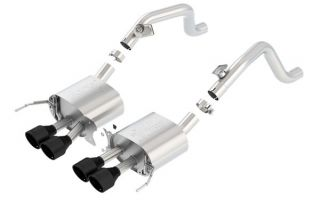 14-19 BORLA ATAK Exhaust System w/4.25in Round Intercooled Tips - Black (No Valves)