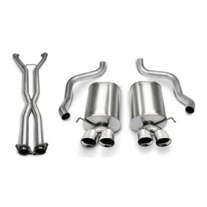 06-08 LS2/LS3 A6 Auto Corsa Xtreme Cat-Back Exhaust System - Quad 3.5in Polished Tips