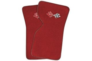 "1970-1982 Corvette ACC Floor Mats w/Embroidered ""Cross-Flags"" Emblem (Cut-Pile)"