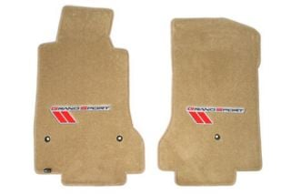 2010-2013E Corvette Lloyd Velourtex Floor Mats w/Grand Sport Emblem (Red/Black Emblem)