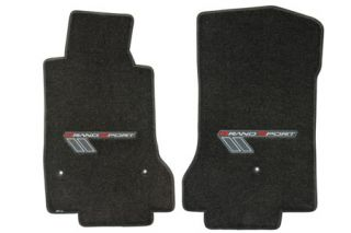 2010-2013E Corvette Lloyd Velourtex Floor Mats w/Grand Sport Emblem (Red/Silver Emblem)