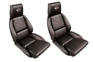 84-88 STD Seat Covers - Perforated Inserts & Embroidered Emblem (Leather)