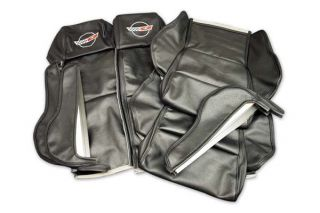 84-88 Sport Seat Covers w/Embroidered Emblem in Black