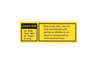 1979-1980 Corvette Fan Shroud Caution Decal