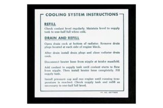 1965-1967 Corvette 396/L-88 Coolant Instruction Decal