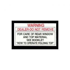 1956L-1975 Corvette Convertible Top Rear Window Tag