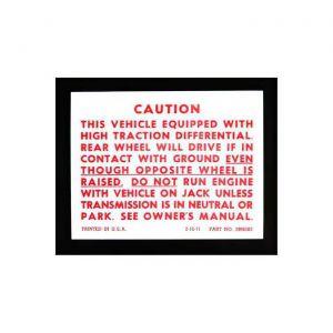 1972-1973 Corvette Positraction Caution Decal