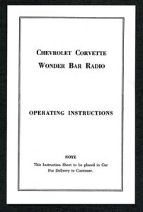 1963 Corvette Wonder Bar Radio Instruction Sheet