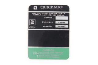 68 AC Compressor Frigidaire Decal